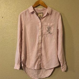 """Button up with """"still like you...for now"""" stitched"""